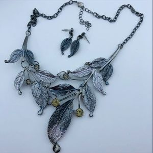 Statement Silver Tone Leaf Necklace & Earring Set